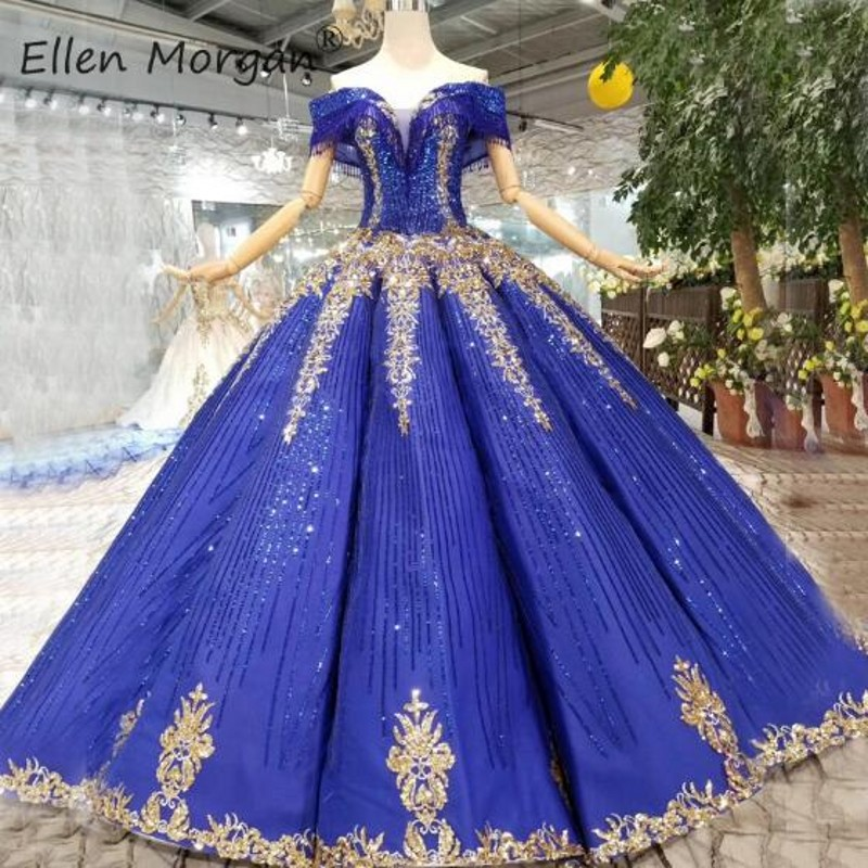 Royal Blue Glitter   Prom     Dresses   Gold Off Shoulder Lace up Floor Length Elegant Quinceanera Ball Gown Sweet 16 15 Girls 2019