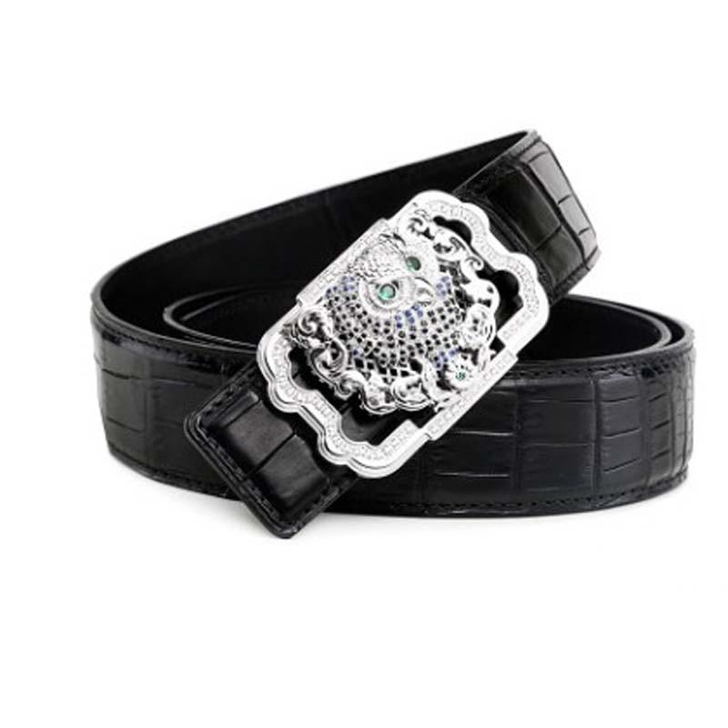 LINSHE crocodile  men belt  men  Stainless steel eagle head leather belt business casual men leather men belt