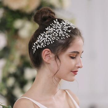 TRiXY H237-G złoto ślubne akcesoria do włosów kryształowe włosy ślubne ozdoby ślubne na włosy ozdoby do włosów ozdoba na głowę dla panny młodej tanie i dobre opinie CN (pochodzenie) Kwiaty POLIESTER Dla osób dorosłych as picture 10*37CM 3 93*14 56IN pearl rhinestones wedding Party Bride Bridesmaid Flower girl Girls
