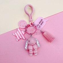 Colors Cartoon Crystal Rabbit Keychain Women Car Creative Acrylic Pendant Bag Tassel  rabbit Key Chain Childrens gift key ring