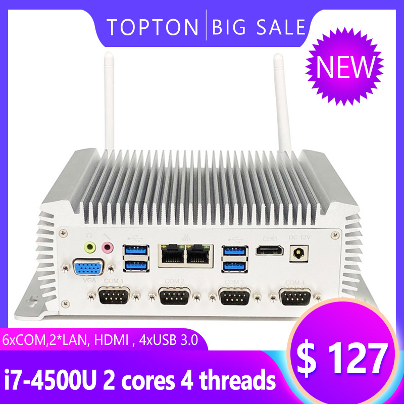 Cheap Mini Desktop Computer Fanless Industrial PC Intel I7 I5 I3 2955U Dual Core CPU  4xUSB 3.0, 6xCOM,2*LAN, HDMI, WIFI And BT