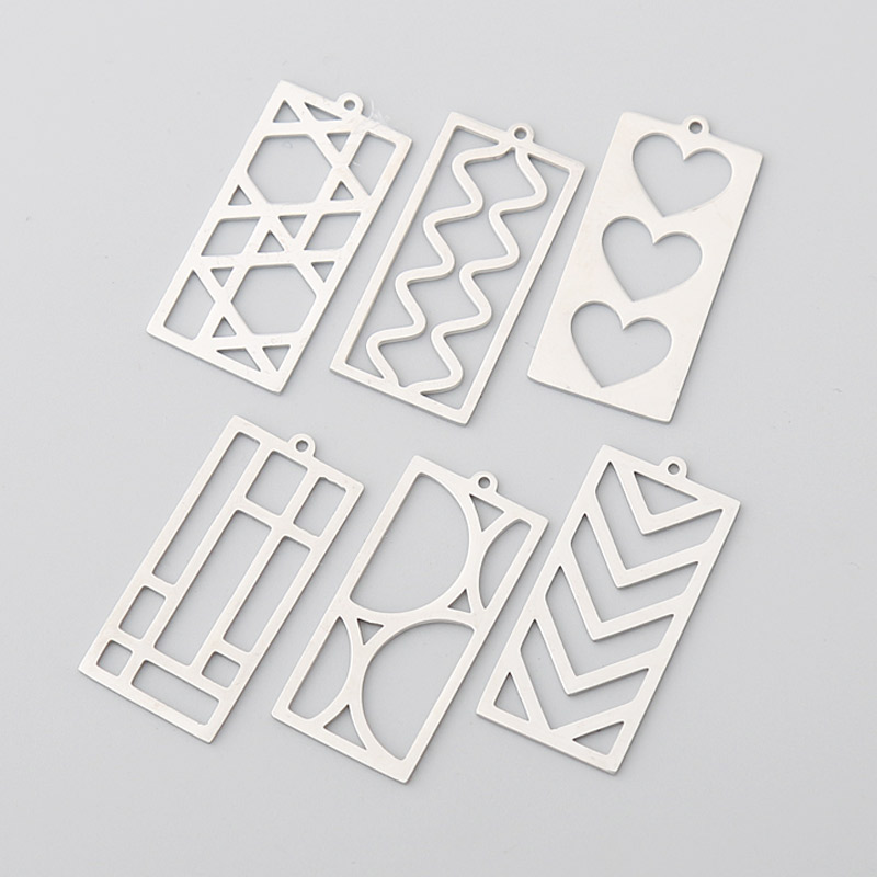 RAINXTAR Fashion Stainless Steel Rectangle Charms Heart Wave Pendant Jewelry Charms 13*28mm 20pcs SSC008