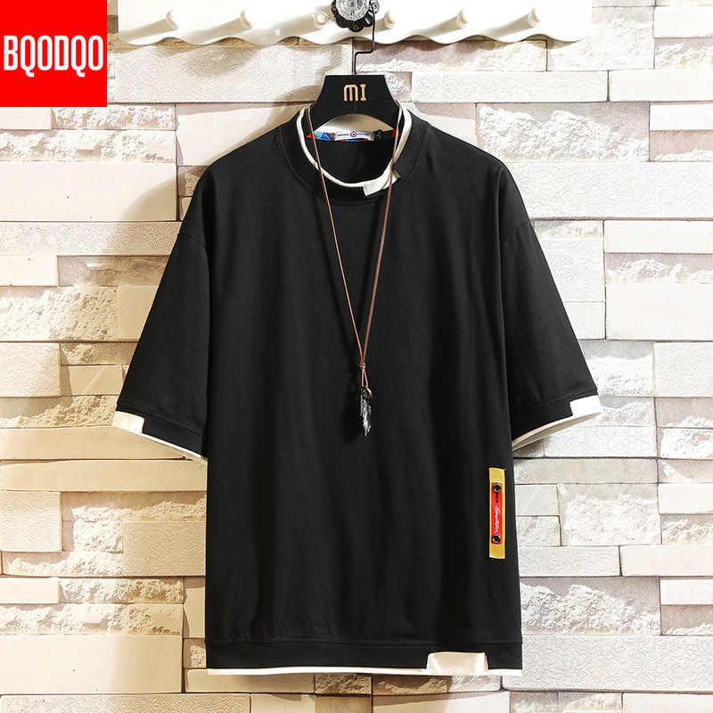 5XL koszulka z krótkim rękawem męska Hip-Hop męska bawełna Plus rozmiar Tshirt O-neck letnia koszulka z systemem przyczynowy moda luźny, dzianinowy koszulki