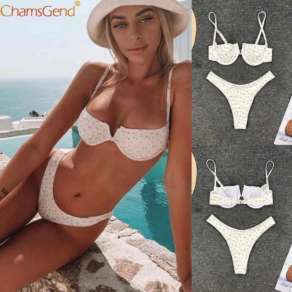 Women Swimwear Bikini Set Printing Push-up Padded Swimwear Bathing Low Waisted Swimwear Hot Monokini Beachwear Bikini Set Mujer