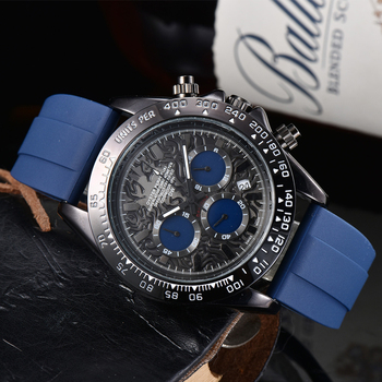 Fashion Men Watch Top Brand Luxury ROL Chronograph Waterproof Sport Mens Watches Silicone Automatic Date Military Wristwatch