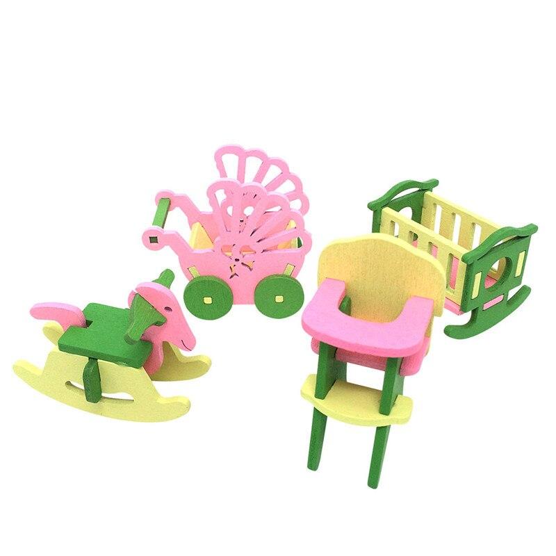 Venda quente do bebê de madeira dollhouse móveis bonecas casa em miniatura criança jogar brinquedos presentes #6