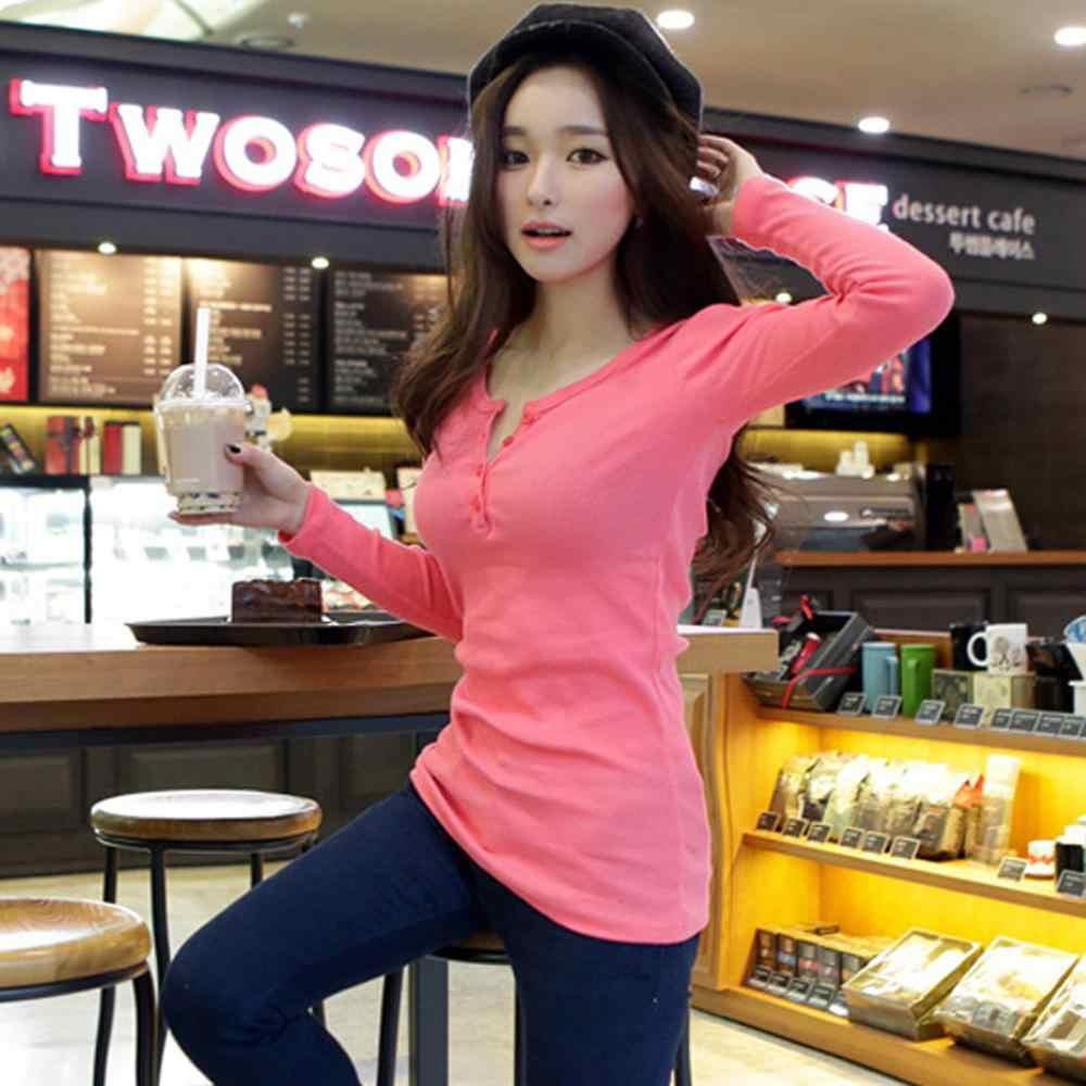 Frauen Koreanische Shirt Eng Anliegende Taste Lange Hülse Frauen Tops T-shirt Casual Fashion T Shirt Frauen Kleidung ropa mujer 여자의 티셔츠