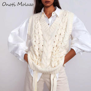 Women Knitted Sweaters Pullovers Sleeveless Vest Loose Casual Ladies Chic Onoti Molazo