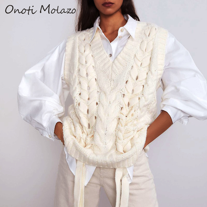 Onoti Molazo Women Knitted Sweaters Pullovers Vest Sleeveless Loose Casual Ladies Knit Sweater Vest Female Chic 2020 Spring New
