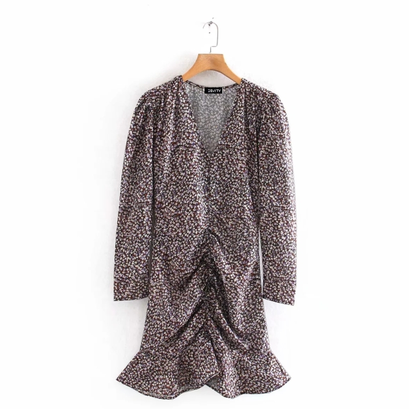 New 2020 women elegant v neck floral print pleated design mini dress female hem ruffles vestidos chic casual slim dresses DS3199
