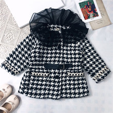 Korean Fashion Winter Plaid Thickened Toddler Girls Jacket Coat Cute Lace Collar Long Clothes Fall Little Children Outwear