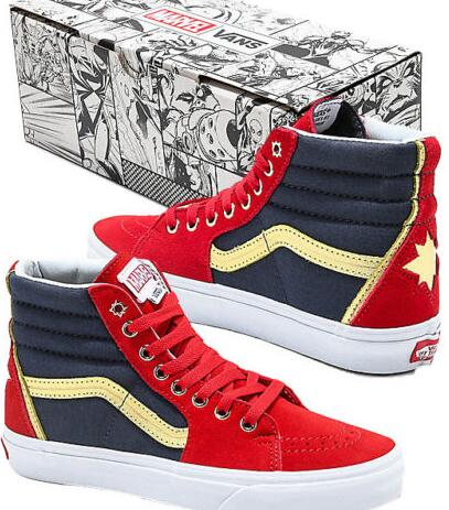 Authentic Vans x Marvel Sk8 Hi Captain Marvel Red, Blue