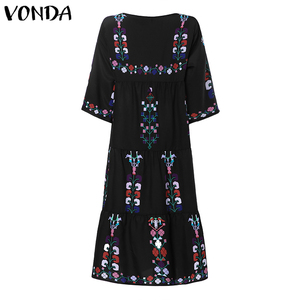Image 5 - Bohemian Women Vintage Print Dress 2020 VONDA Sexy O Neck 3/4 Sleeve Maternity Dresses Plus Size Casual Loose Vestidos Femme