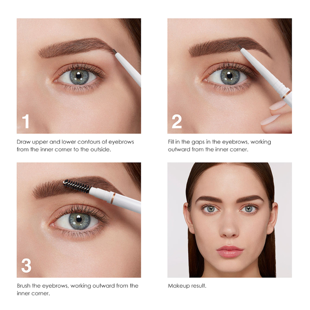 O.TWO.O Eyebrow Pencil Waterproof 4 Colors Double Ended Eyebrow Pencil Eye Brow 1.5mm Pen Brown Cosmetic Beauty Makeup 4
