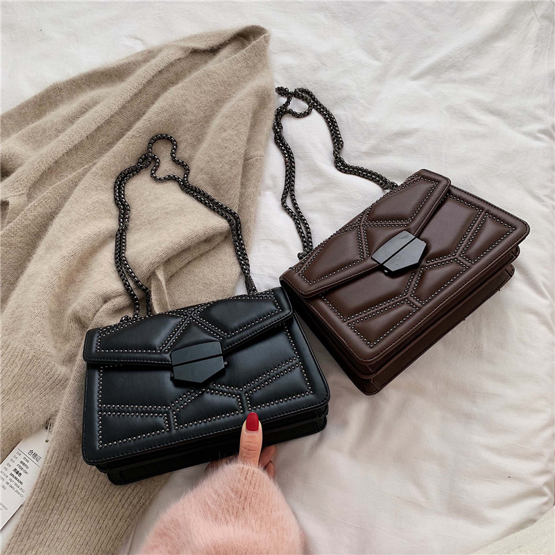 Rivet Chain Brand Designer PU Leather Crossbody Bags For Women 2020 Simple Fashion Shoulder Bag Lady Luxury Small Handbags