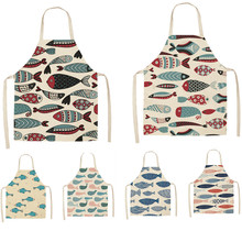 Colorful Fish Printed Kitchen Aprons for Women Kids Sleeveless Cotton Linen Bibs Cooking Baking Cleaning Tools