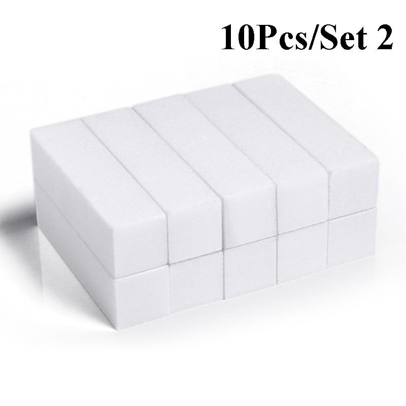 10pcs/lot Mini Sponge Nail File Colorful Sanding Buffer UV Gel Polish Set Block Nail Files Double Side Nagel Nail Art Tools 7