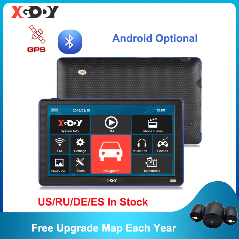 XGODY Android Wince GPS 7   Truck Car Navigation 1GB 16GB 256M 8GB Capacitive Screen Navigator Camera Optional 2020 Free Map