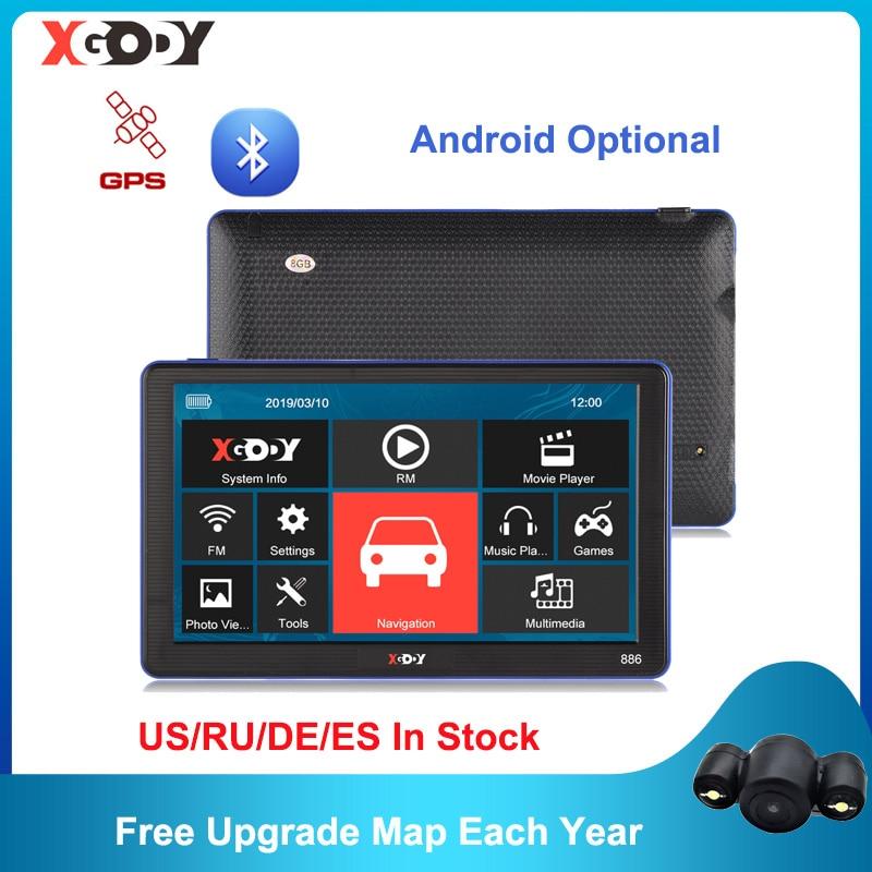 XGODY Android/Wince GPS 7 ''автомобильный навигатор 1 Гб + 16 Гб/256 м + 8 Гб емкостный экран Камера-навигатор опционально 2020 бесплатная карта