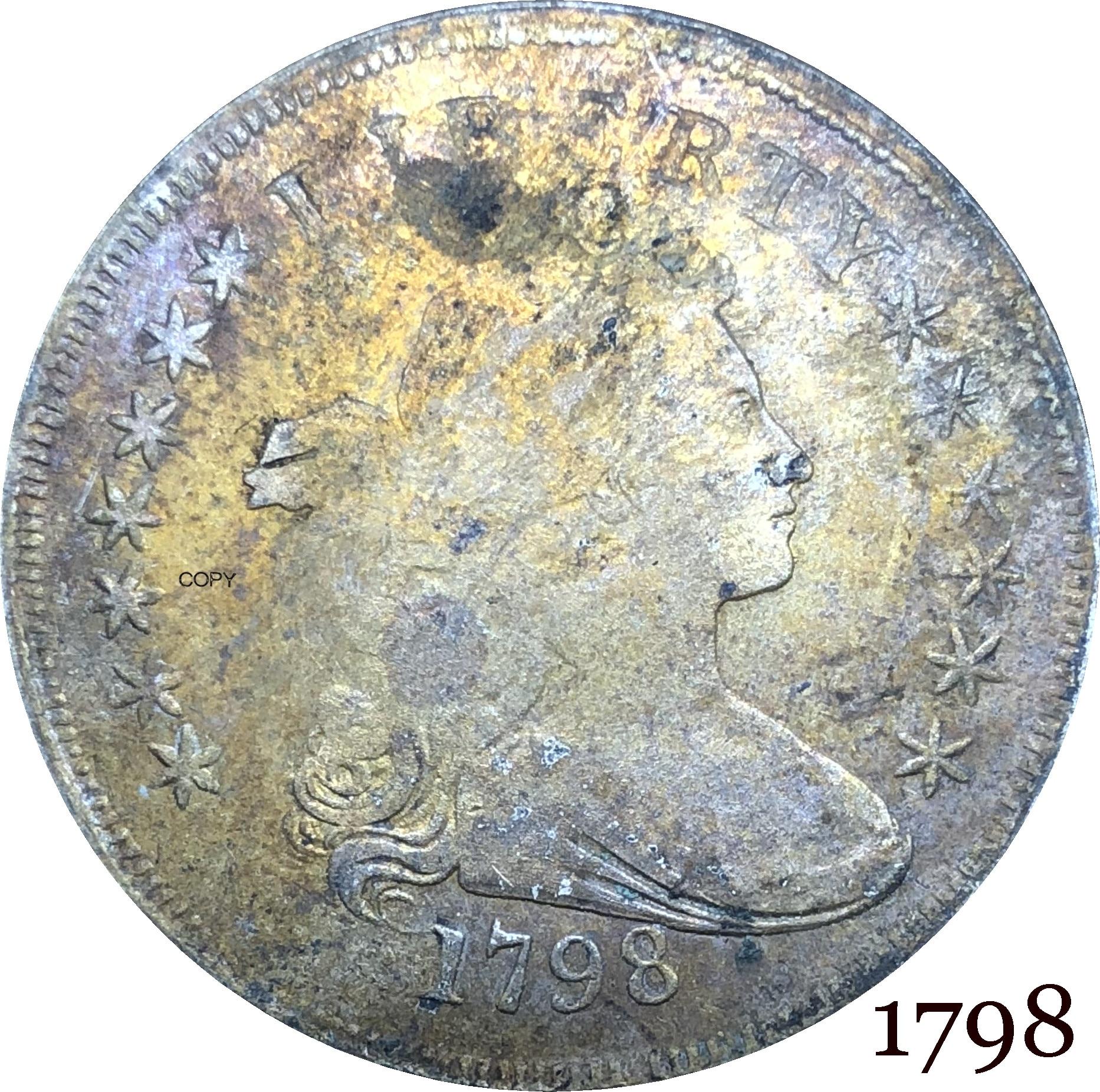 Estados unidos da américa moeda 1798 liberty broca busto um dólar, heraldic águia cupronickel prateado moedas de cópia