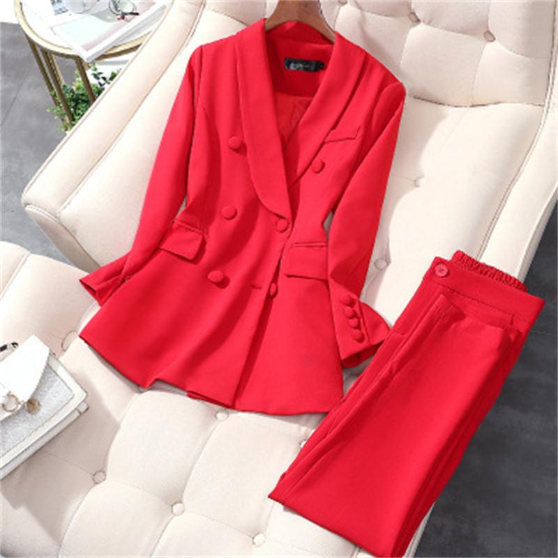 Fashion Suit Suit Women Spring New High Quality Red Double Breasted Business Suit + Pants Two-piece OL Suit Women Size M-5XL