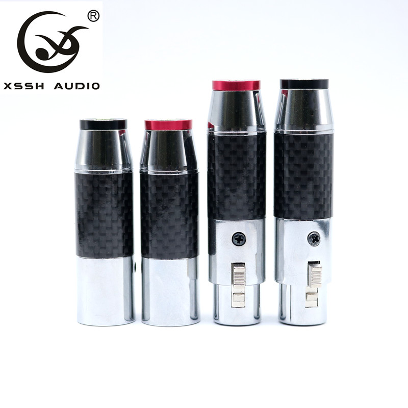 XSSH Black Carbon Fiber Shell Rhodium-plated Copper Tellurium Nylon XLR <font><b>Audio</b></font> <font><b>Jacket</b></font> 3-pin Connector 2 Dressed Women 2 Male XLR image