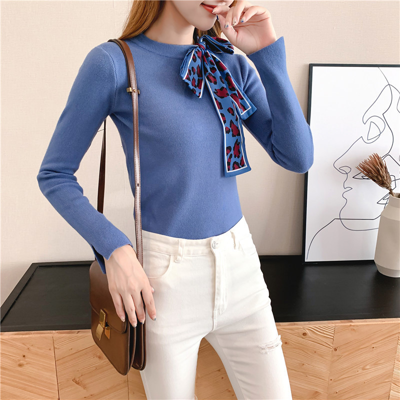 Women Knit Sweater Pullover Autumn Winter Clothes New Leopard Bow Tie Slim Pull Knitwear Sweater Jumper Long Sleeve Female Tops 11