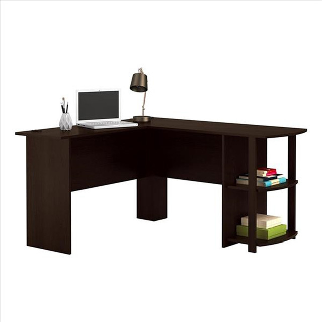 L-Shaped Wood Computer Desk w/ Two-layer Bookshelves  4