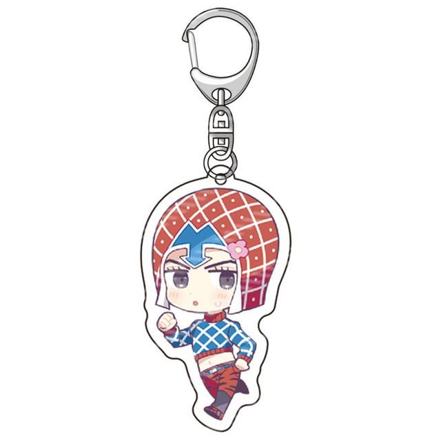 Anime JoJos Bizarre Adventure Acrylic Keychains Accessories Cartoon Jotaro Kujo Figure Key Chains Pendant Accessories Key Rings 3