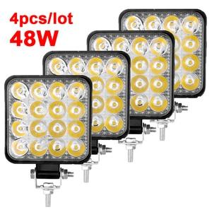 Image 1 - 4 pces carro conduziu a barra worklight 48w 12v offroad trabalho luz de nevoeiro lâmpada 16 lâmpada led trator farol lâmpadas holofotes para caminhão atv 4 i
