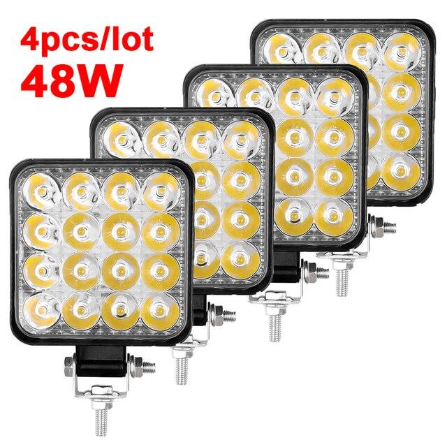 4 pces carro conduziu a barra worklight 48w 12v offroad trabalho luz de nevoeiro lâmpada 16 lâmpada led trator farol lâmpadas holofotes para caminhão atv 4 i