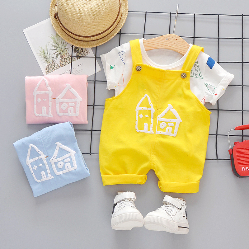 Baby Boys Clothes 2020 Summer Cotton Suit T-shirt + Overall 2 PCS Children Outfit Short Costume For Kids Suits 4 Pieces