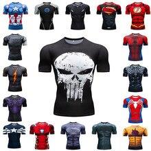 Camiseta de compresión para correr para hombre, ropa deportiva de manga corta con estampado para gimnasio, camisetas de entrenamiento para culturismo