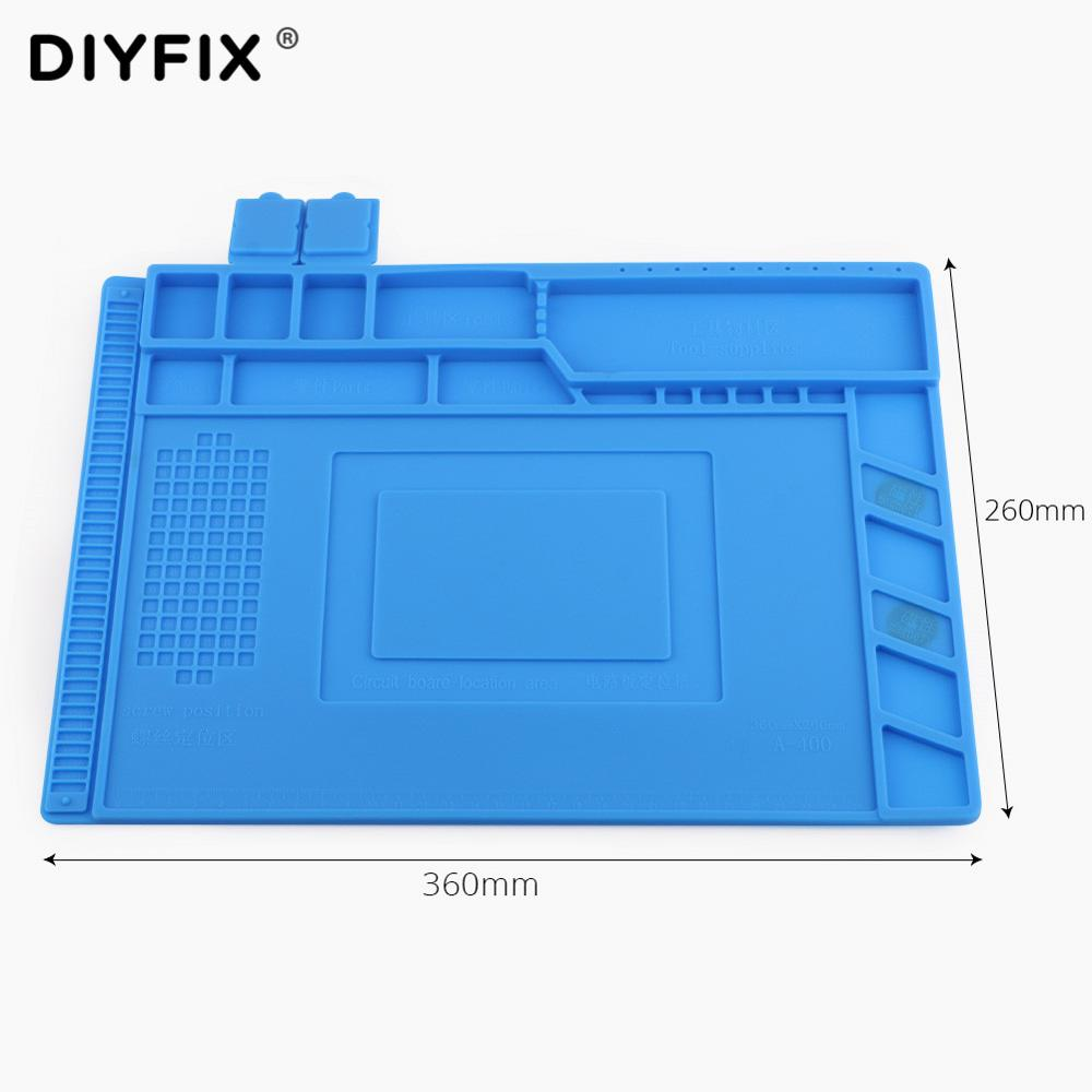DIYFIX 36*26cm Heat Insulation Silicone Pad Desk Mat Maintenance Platform for BGA Soldering Repair Station with Magnetic Section