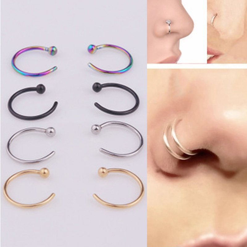 2020 Fake Piercing Medical Titanium Nose Ring For Women Open Hoop