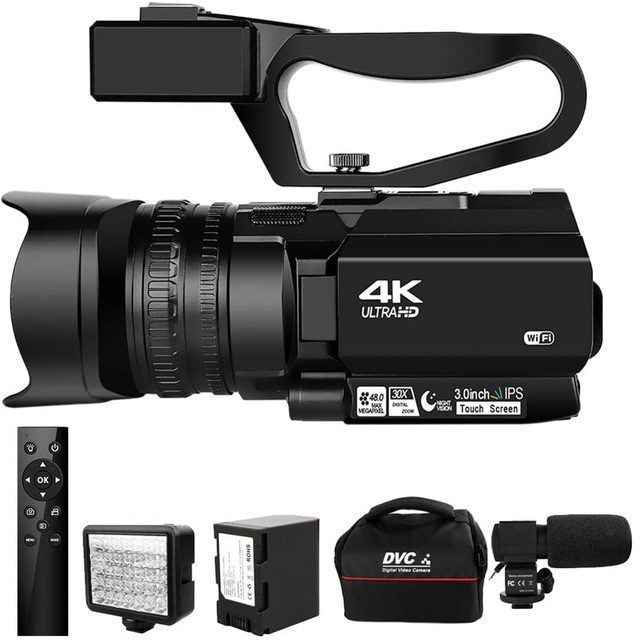 Camcorder 4K Ultra HD 48MP Video Camera for YouTube Live Streaming 30X Digital Zoom IR Night KOMERY Touch Screen