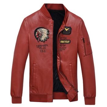 New Autumn Winter Men Leather Jacket Baseball collar Embroidery Warm Leather Jacket Men Social Mens Jackets faux fur coat men