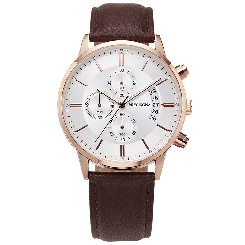 Precisona New Fashion Mens Watches With Stainless/ Leather Steel Top Brand Luxury Sports Chronograph Quartz Watch