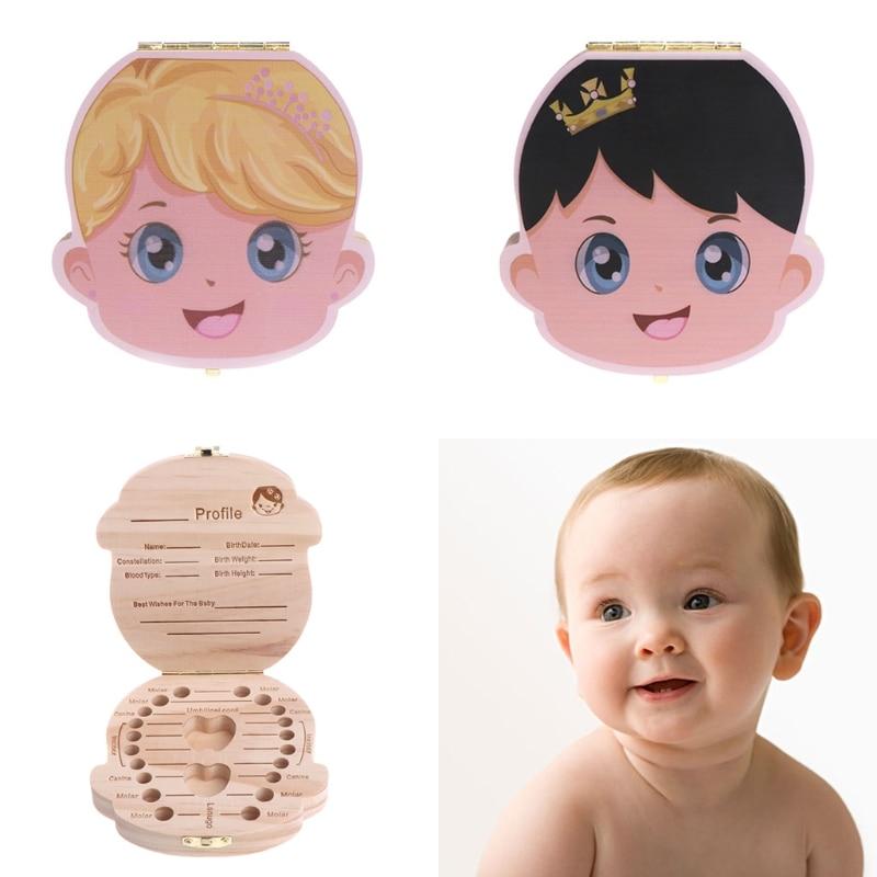 Tooth Box Organizer Kids Baby Save Milk Teeth Wood Storage Box For Boy Girl Gift 19QF