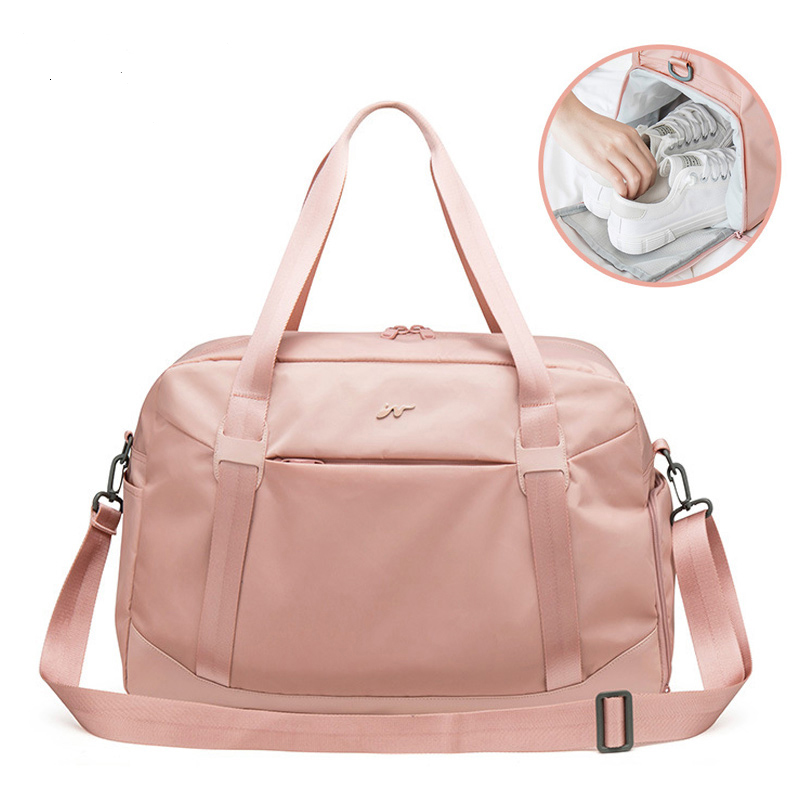 Fashion Foldable Fitness Bag Women Shoulder Duffle Travel Bag In Travel Bags Shoe Compartment Large Capacity Handbag XA786WB