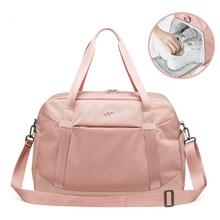 Moda dobrável saco de fitness feminina ombro duffle bolsa de viagem em sacos de viagem compartimento sapato grande capacidade bolsa xa786wb