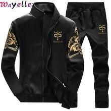 Wayelle Mens Sportswear Sets Men Sweatshirts 2019 Spring Autumn Male Casual Tracksuit 2 Piece Sweatshirt + Sweatpants