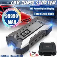 99990mAh 5 porte auto salto avviamento auto ponticello batteria 12V 3.0 caricabatterie rapido 3 USB 2 tipo-c banca di alimentazione di emergenza SOS LED flashhandmade