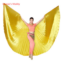 סיטונאי 360 תואר בטן ריקוד אגף לנשים props זהב וsilve בד בטן ריקוד אגף בנות ריקוד אבזרים
