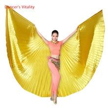 Оптовая 360 градусов танец живота крыло для женщин танец живота реквизит золото и серебро ткань танец живота крыло девушки танцуют аксессуары