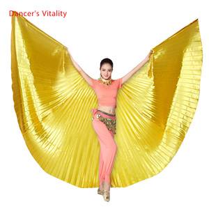 Image 1 - Groothandel 360 Graden Buikdans Vleugel Voor Vrouwen Buikdans Props Goud En Silve Doek Buikdans Vleugel Meisjes Dans accessoires