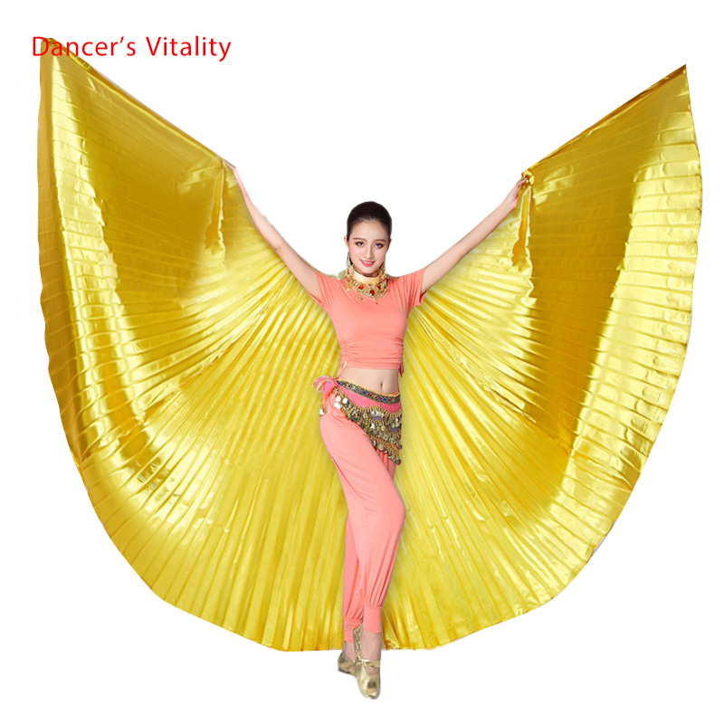 Wholesale 360 degree belly dance wing for women belly dance props gold and silve cloth belly dance wing girls dance accessories