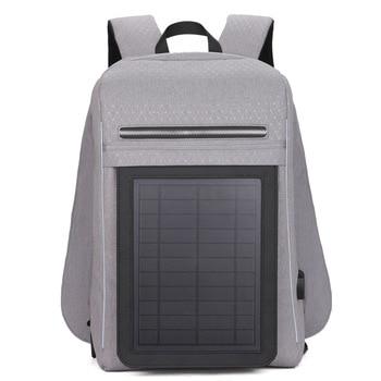 15.6' Laptop Solar Backpack Large IPad Bag USB Charging Business Backpacks Traveling Daypack Anti Theft Backpack 4