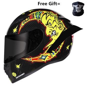 Full Face Carbon Fiber Motorcycle Helmet Professional Racing Helmet Kask DOT Rainbow Visor Motocross Off Road Touring S to XXL