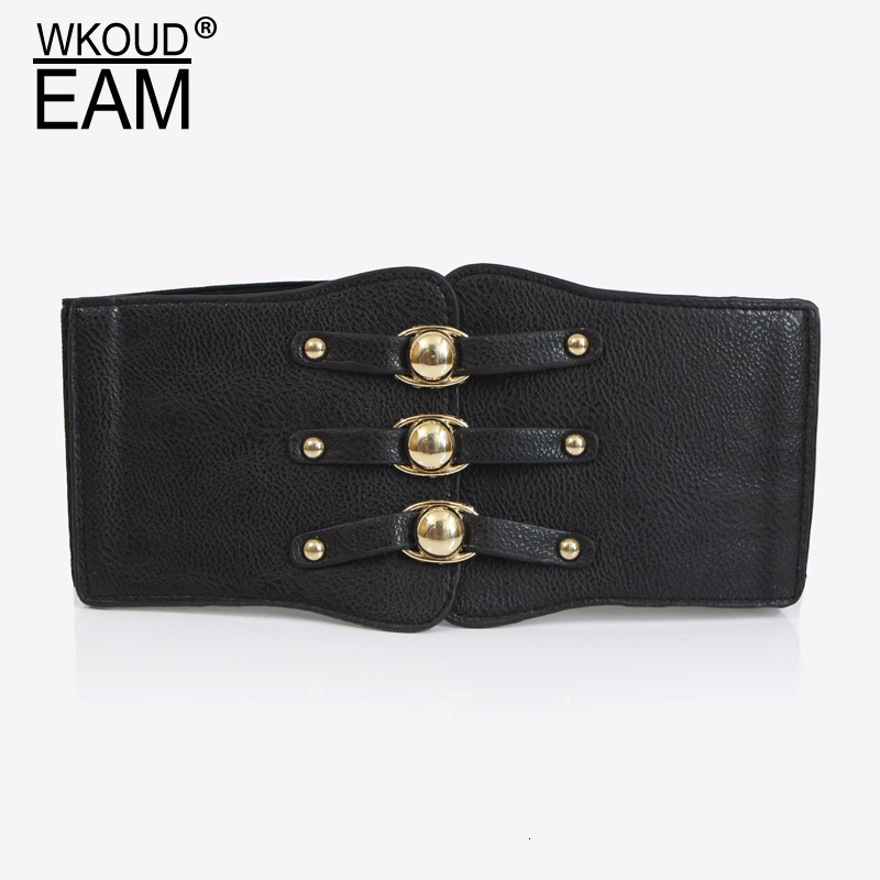 WKOUD EAM New Fashion 2020 Waist Seal For Women Elastic Band Solid Single-breasted Girdle Female Metal Buttons Casual Classic A4